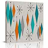 Canvas Print Wall Art Oil Painting Giclee Artwork On Wrapped Canvas Retro Geometric Mid Century Style 8x8in Ready to Hang with Framed for Living Room Office Home Decoration