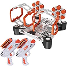 USA Toyz AstroShot Gyro Rotating Target Shooting Game - Nerf Compatible Spinning Targets w/ 2 Blaster Toy Guns and 24 Foam Darts Silver