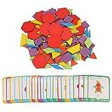 155 Piezas de Bloques de patrón de Madera con 24 Tarjetas de diseño, Juegos Tangram Montessori, Juego de Tablero de Rompecabezas de Madera Colorido