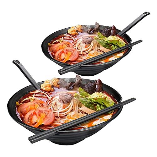 TTXP 2 Set Japanese Bowls with Matching Spoon and Chopsticks, Melamine Vintage-Style Soup Bowl Set, for Udon Soba Pho Asian Cuisine,Black