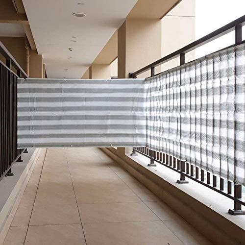 KANULAN Cerca de Jardín Decorativo Protección Cercos Anti-UV Transpirable antioxidante Ojales Balcón Valla privada de Rayas Sombrilla del Parabrisas Cubierta Toldo de Vela (Color : Gray, Size : 1x6m)