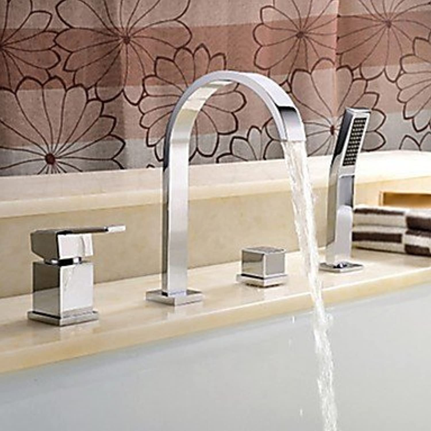 Contemporary Widespread Waterfall Handshower Included Single Handle Four Holes for Chrome , Bathtub Faucet