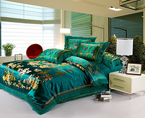 HNNSI 4pcs Wedding Bedding Sets Full Size, Chinese Dragon and Phoenix Satin Lace Duvet Cover Set with Cotton Flat Sheet, Quit/Comforter Cover Sets, Luxury Gifts (Full, style8)