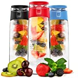 Vremi 24 Oz Fruit Infused Water Bottle - BPA Free Sports Water Bottle with Fruit Infuser Filter and Flip Top Lid Cap - Large Tritan Plastic Eco Drinking Clear Reusable Travel Water Bottles - Red