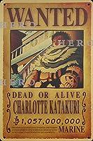 海賊アニメCHARLOTTE KATAKURIシャーロットカタクリ さびた錫のサインヴィンテージアルミニウムプラークアートポスター装飾面白い鉄の絵の個性安全標識警告バースクールカフェガレージの寝室に適しています