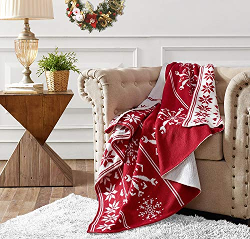 FBTS Prime Christmas Throw Blanket 50x60 Inch Red Cream Snowflake Blanket Throws for Couch Soft