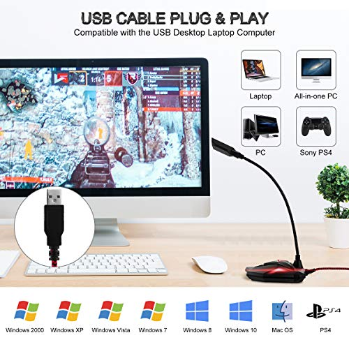 EIVOTOR USB Desktop Mikrofon PC Gaming Computer Microphone Plug & Play Aufnahme Mikrofon mit Mute-Taste Kondensatormikrofon Kompatibel mit PS4,Mac,Windows 7/8/10 für Discord,YouTube,Skype,Podcast