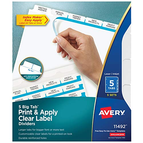 Avery 5 Big Tab Binder Dividers, Easy Print & Apply Clear Label Strip, Index Maker, White Tabs, 5 Sets (11492)
