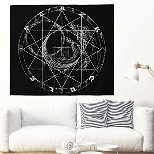 Monochrome Howls Wolf Viking Runes Tattooed Tapestry Ethnic Wolf Moon Root Sketched Artwork Wall Hanging Tapestry Celtic Nordic Wolf Rune Totem Wall Ceiling Wall Decor, White