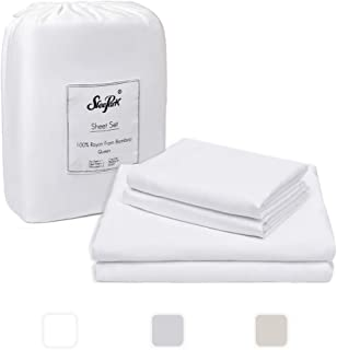 SLEEPARK 4 Pieces Bamboo Bed Sheet Set - Hypoallergenic - 100% Bamboo Rayon - Soft and Wrinkle Free - White - Queen