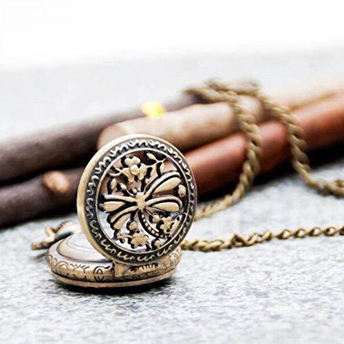 SBRTL Vintage Bronze Anhänger Libelle Quarz Premium Steampunk Halskette Taschenuhr Hollow Retro Halskette