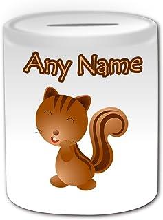 De regalo con mensaje personalizado - Hucha de ardilla diseño de corazón y emoticono (diseño de animales, blanco) - nombre personalizable para/en tu diseño de con texto en inglés