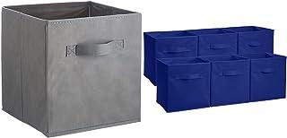 Amazon Basics Lot de 6 Cubes de Rangement pliants, Gris & Lot de 6 Cubes de Rangement pliants, Bleu Marine