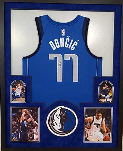 Luka Doncic Dallas Mavericks Autograph Signed Custom Framed NBA Licensed Swingman Jersey Blue Suede Matting Laser Cut Logo Fanatics Authentic Certified