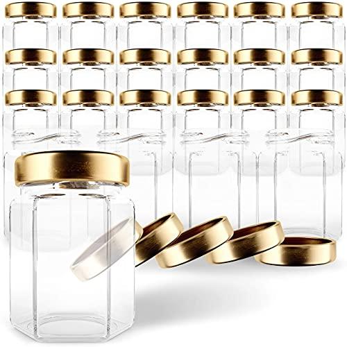 GoJars Tarros de cristal hexagonales de 177ml de calidad , mini tarros...