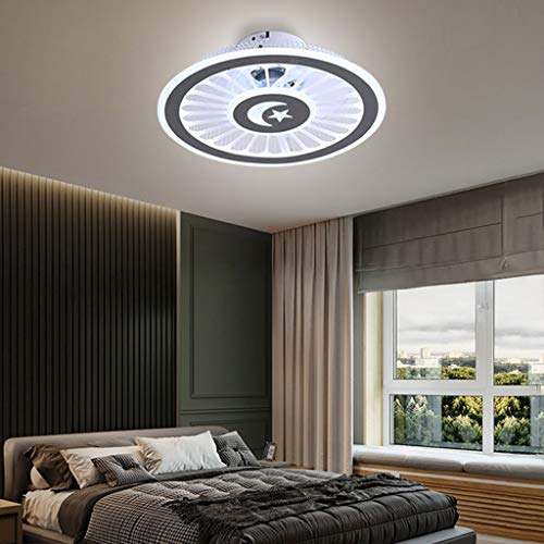 Ventiladores de Techo Con Iluminación, Regulables Con Control Remoto, Temporización Silenciosa, Velocidad Del Viento Regulable Lámpara de Techo LED Moderna de 72W, Para Dormitorio, Oficina, Ø48CM