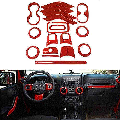 WeifangInspire Fits for Jeep Wrangler 2011-2017 4 Door 18pcs Full Set Interior Decoration Trim Kit,Door Handle Cover Inner,Center Console Air Outlet Trim (Red)