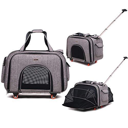 GOCO Huisdier Wielen Rolling Carrier, Verwijderbare Wielen Travel Carrier voor Huisdieren tot 20 pond, met Uitschuifbaar Handvat & Afneembaar Fleece Bed, 15.7inchx15.4inchx, Zwart