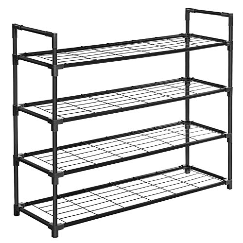SONGMICS 4-Tier Shoe Rack, Metal Shoe Shelf, Storage Organizer Hold up to 20 Pairs Shoes, for Living Room, Entryway, Hallway and Cloakroom, 36 x 11.2 x 29.9 inches, Black ULSM04BK