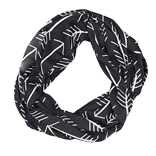 hong Wu Frauen Infinity-Schal Art und Weise gedruckte Leichtbau-Verpackungs-Schal mit Tasche Loop-Reißverschluss-Tasche Schale für Frauen Mädchen Schwarz Startseite Bekleidung Accessoires