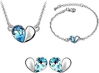 korpikus® Metall und Jewel Kristallherz -Halskette, Armband und Ohrringe Schmuck Trio Set (in freier Organza-Geschenk-Beutel)