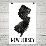 New Jersey Home, New Jersey State, Map of New Jersey, New Jersey Wall Art, New Jersey Gift, Map, Art, Print, Art, Sign, Decor, Poster 12'x18'