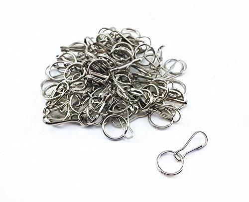 Yueton 50pcs Mini Nickel Plated Steel Lanyard Hook Split Key Ring, Hobby ID Card Key Chain Parts Key Chain Holder Connector