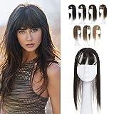 Elailite Flequillo Protesis Capilar Mujer Pelo Natural Clip Postizo Extensiones Hair Topper Toupee Cabello Humano Base 10cm*12cm con Encaje 130% Densidad 30cm 40g #1B Negro Natural