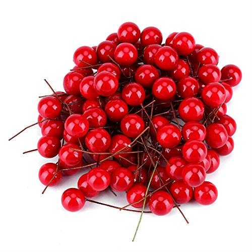 100pcs Holly Berries Adornos de tenis Artificial Red Holly Berry Navidad Decoración del hogar Adornos colgantes para decoraciones de árboles de Navidad Guirnalda Uso artesanal Favor de banquet