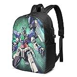 XCNGG Mochila USB Gundam de 17 Pulgadas, Mochila para Ordenador portátil Unisex, de Viaje, Resistente al Agua, con Puerto de Carga USB para la Escuela, Mochila para Estudiantes universitarios