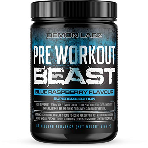 Pre Workout Beast (Blue Raspberry Flavour) - Hardcore pre-Workout Supplement with Creatine, Caffeine, Beta-Alanine and Glutamine (Supersize - 612 Grams | 80 Servings)