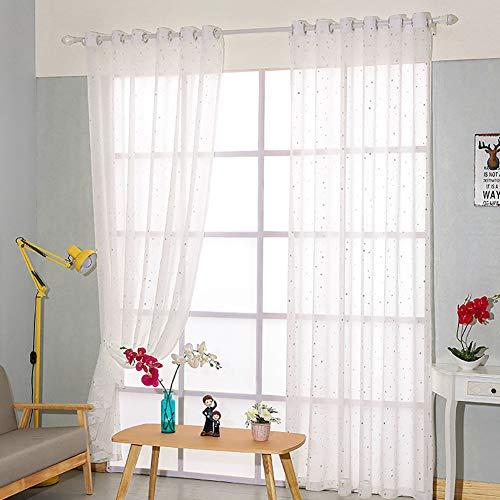 Immoch 2 pcs Cortinas Translúcidas Cortinas Visillos con 8 Ojales para Habitaciones Dormitorios Salones Estampado de Estrellas Altura de 150cm (Estrellas, 150 x 200cm)