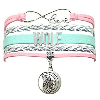 Wolf Bracelet Jewelry - Leather Infinity Love Wolf Gifts Wolf Jewelry Bracelet Gifts For Women Girls Men Boys Wolf Lovers Popular Wolf Lover Gifts  Pink Silver and Mint Green