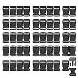 RETON Hebillas Ajustables Negras Hebillas Laterales de Plástico (25 MM, 50 Piezas)