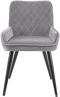 YUMUO Sillas de Comedor Asiento y Respaldo Acolchados de Tela Suave con Patas de Metal Sillas de Cocina para sillas de Comedor y Sala de Estar (Color: Gris)