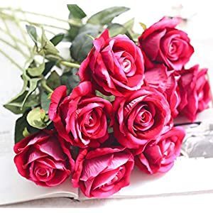 JOEJISN Artificial Silk Rose Flowers 12pcs Real Looking Fake Big Roses Velvet Roses Bridal Bouquet Wedding Home Kitchen Decorations or Gift (Rose Red)