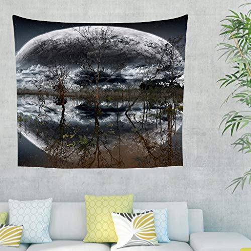 Gamoii Tapiz de pared, diseño de árboles, luna, río, lago, reflexión, para colgar en la pared, para picnic, playa, meditación, yoga, esterilla de playa, bufanda, mesa, sofá, funda blanca, 230 x 150 cm
