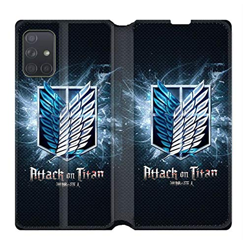 Cokitec Leather Wallet Case for Samsung Galaxy A71 Manga Attack on Titans Black