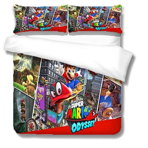 Probuk Mario Juego de cama 3D Super Mario, funda nórdica + funda de almohada, microfibra, cremallera, adolescentes, niños, adultos, jóvenes (5,135 x 200 cm (50 x 75 cm)