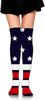 Uridy, Línea roja y blanca Estrellas Calcetines hasta la rodilla para niñas Correr clásico Deportes Muslo Medias Custume Crazy Calcetines