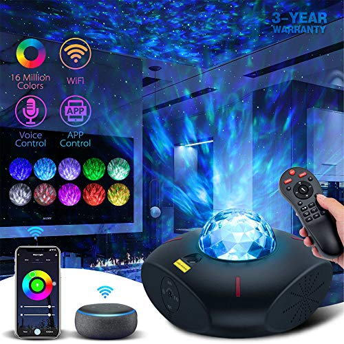 Lacoco Galaxy Projector Star Projector Galaxy Light with Bluetooth Music Speaker and Remote Control Work with Alexa Google Home Galaxy 360 Pro Galaxy Light Projector for Bedroom for Baby Kids Adults