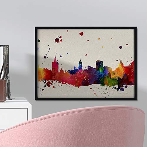 Nacnic Lámina Ciudad de Valencia. Skyline Estilo Acuarela y explosión de Color. Poster tamaño A3 Impreso en Papel 250 Gramos y tintas de Alta Calidad. Decoración del hogar. Diseño al Mejor Precio.