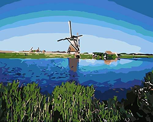 Zhoudd Fototapete Landschaft Holländische Windmühle Vlies Tapeten Wandtapete 3D Effekt Wandgemälde Kunst Moderne Wanddeko Kinderzimmer Schlafzimmer Wohnzimmer 250Cmx175Cm-5 Streifen