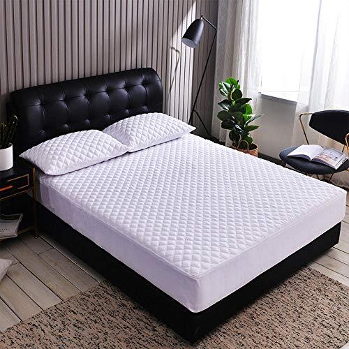 ChileYile Protector de colchón Cepillado de Color Liso Engrosamiento Antideslizante más Dormitorio de algodón-El 120x200 * 20cmblanco