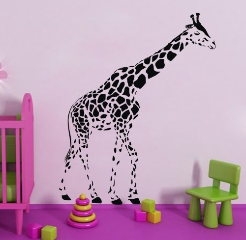 TGSIK DIY Large Black Giraffe Wall Decals Stickers Funny Cartoon Animal Vinyl Removable Home Decor Art for Teen Boys Girls Kids Living Room Bedroom Playroom Kindergarten Family Decorations