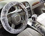acdiac 3Pcs Set Winter Warm Furry Steering Wheel Cover,Handbrake Cover,Gear Shift Cover Set Universal Plush car Interior Accessories (Black&Gray, Automatic)