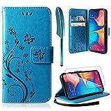 ivencase Funda Samsung Galaxy A20e, Relieve Dibujo Carcasa de Tipo Libro Soporte Plegable Ranuras para Tarjetas Magnético Ultra-Delgado Carcasa Case para Samsung Galaxy A20e, Azul