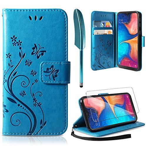 ivencase Lederhülle Kompatibel mit Samsung Galaxy A20e Flip Hülle und Schutzfolie, Wallet Case Handyhülle PU Leder Tasche Case Kartensteckplätzen Schutzhülle Kompatibel mit Samsung Galaxy A20e Blau