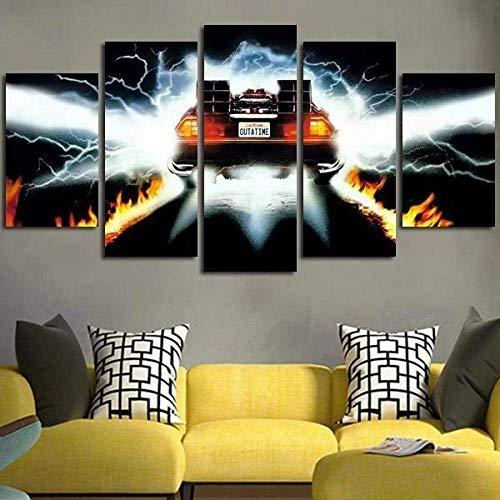 Quadro su Tela 5 Parti Pannelli Wall Art Print Completamente Delorean in Ritorno al Futuro Poster Moderno per la Decorazione della casa Pronto da Appendere per opere d'Arte di Home Office