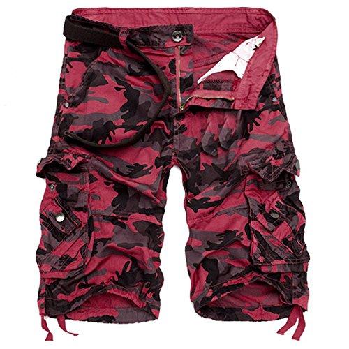 Camouflage Cargo Shorts Herren Mode Kurze Freizeithose Taschen Arbeitsshorts GreatestPAK,Rot,29
